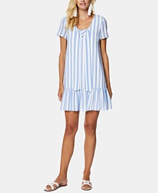 Avec Les Filles Striped Ruffle-Hem Shift Dress