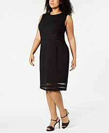 Plus Size Illusion-Stripe Sheath Dress