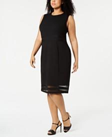 Calvin Klein Plus Size Illusion-Stripe Sheath Dress