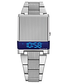 Men's Digital LED Computron Stainless Steel Bracelet Watch 31.1x40.3mm, Created for Macy's