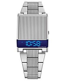 Men's Digital LED Computron Stainless Steel Bracelet Watch 31.1x40.3mm, Created for Macy's