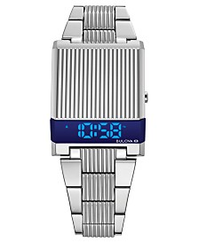 LIMITED EDITION Bulova Men's Digital LED Computron Stainless Steel Bracelet Watch 31.1x40.3mm, Created for Macy's