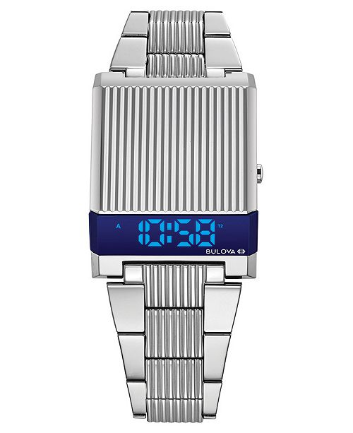 Bulova LIMITED EDITION Men's Digital LED Computron Stainless Steel Bracelet Watch 31.1x40.3mm, Created for Macy's