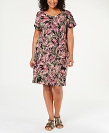 Karen Scott Plus Size Short-Sleeve Jungle-Print Dress, Created for Macy's