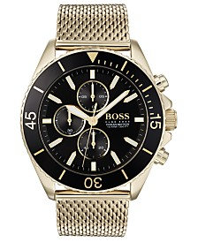 BOSS Men's Chronograph Ocean Edition Gold-Tone Stainless Steel Mesh Bracelet 46mm