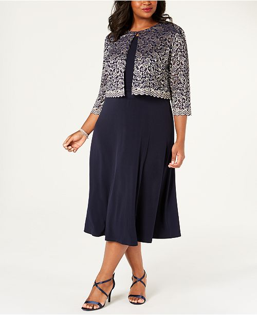 Jessica Howard Plus Size A-Line Dress & Lace Jacket ...