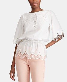 Lauren Ralph Lauren Embroidered Cotton Top, Created for Macy's