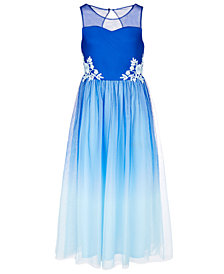 Sequin Hearts Big Girls Embroidered Ombré Ball Gown