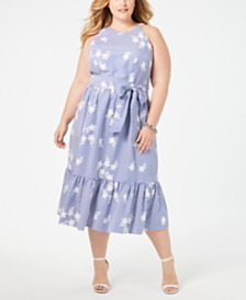 Jessica Howard Plus Size Printed Ruffled-Hem A-Line Dress