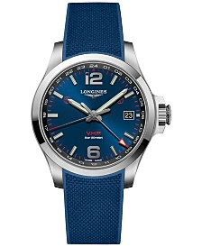 Longines Men's Swiss Conquest V.H.P. Blue Rubber Strap Watch 41mm