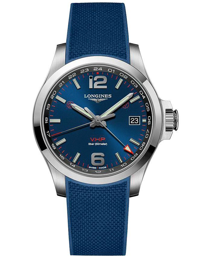 Longines - Men's Swiss Conquest V.H.P. Blue Rubber Strap Watch 41mm