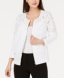 Alfani Zip-Front Crochet Jacket, Created for Macy's