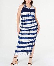 Jessica Simpson Trendy Plus Size Tie-Dyed Maxi Dress