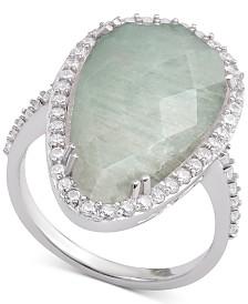 Aqua Quartz & Cubic Zirconia Teardrop Halo Ring in Sterling Silver (Also available in Amethyst, Rose Quartz & Labradorite)
