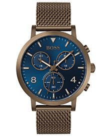 BOSS Men's Chronograph Spirit Khaki Stainless Steel Mesh Bracelet Watch 41mm
