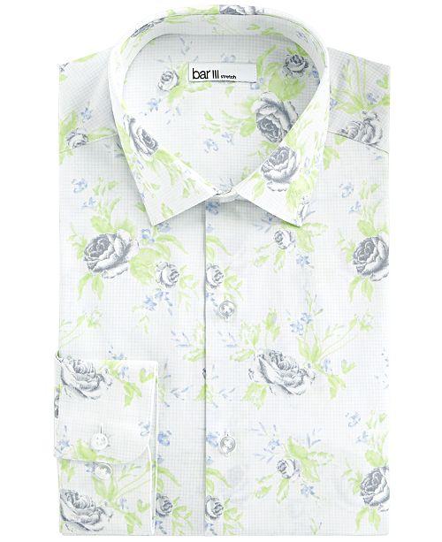 Bar III Men's Slim-Fit Stretch Rose Grid Dress Shirt, Created For Macy's