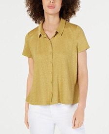 Eileen Fisher Organic Linen Button-Down Top