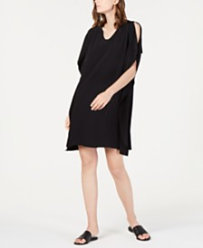 Eileen Fisher Tencel™ Cold-Shoulder Kimono Shift Dress