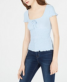 Juniors' Smocked Cap-Sleeve Top