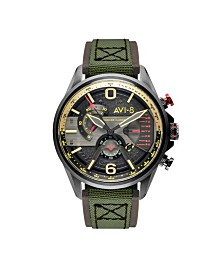 AVI-8 Men's Japanese Quartz Chronograph Hawker Harrier II Dual Retrograde Edition Green Leather Strap Watch 43mm