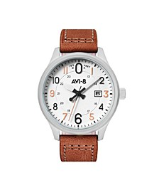 Men's Japanese Quartz Hawker Hurricane Altimeter Edition, AV-4053-0A, Brown Leather Strap Watch 43mm