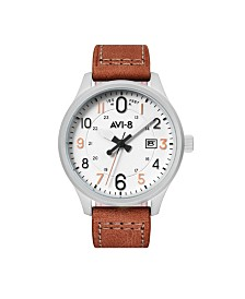 AVI-8 Men's Japanese Quartz Hawker Hurricane Altimeter Edition, AV-4053-0A, Brown Leather Strap Watch 43mm