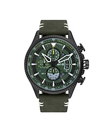 AVI-8 Men's Japanese Quartz Chronograph Hawker Hunter Avon Edition, AV-4064-02, Green Leather Strap Watch 45mm