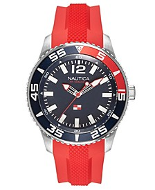 Men's NAPPBP903 Pacific Beach Red/Navy Silicone Strap Watch