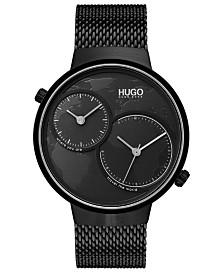 HUGO Men's #Travel Black Stainless Steel Mesh Bracelet Watch 42mm