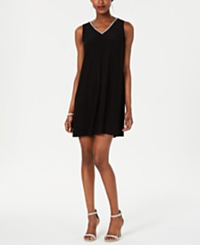 MSK Petite V-Neck Slit-Back Dress