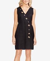 770e52ca004 Vince Camuto Faux-Wrap Linen Dress with Tortoise-Look Buttons