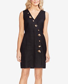 Vince Camuto Faux-Wrap Linen Dress with Tortoise-Look Buttons