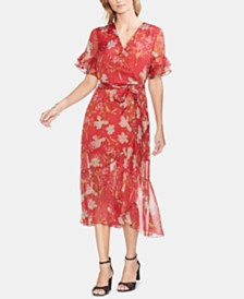 Vince Camuto Printed Ruffled-Hem Dress