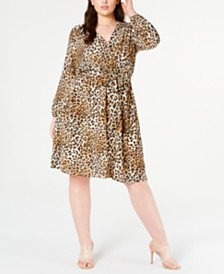 Monteau Juniors' Trendy Plus Size Long-Sleeve Cheetah-Print Dress