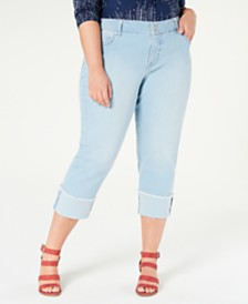 Style & Co Plus Size High-Cuff Capri Jeans, Created for Macy's
