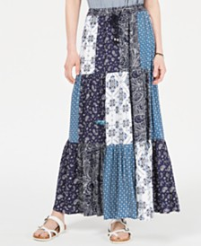 Style & Co Bandana Mixed-Print Patchwork Maxi Skirt, Created for Macy's