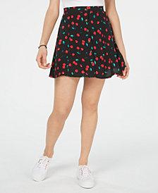 Ultra Flirt Juniors' Printed Button-Trimmed Swing Skirt