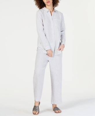 Linen Striped Cropped Straight-Leg Pants, Regular & Petite