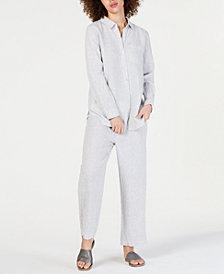 Eileen Fisher Striped Shirt & Straight-Leg Pants