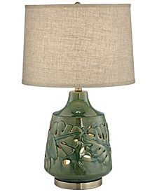 Green Glaze Ceramic Table Lamp w/ Nightlight