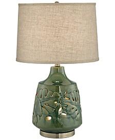 Pacific Coast Green Glaze Ceramic Table Lamp w/ Nightlight