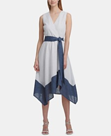 DKNY Colorblocked Belted Asymmetrical Dress