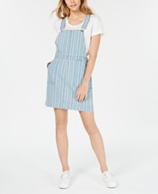 Tinseltown Juniors' Pinstriped Denim Skirtall Dress