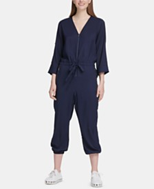 DKNY Roll-Tab-Sleeve Jumpsuit