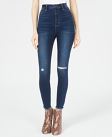 Tinseltown Juniors' Ripped High-Rise Skinny Jeans