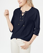 4b7a84d8a81 Tommy Hilfiger Cotton Lace-Up Top, Created for Macy's