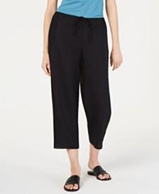 Eileen Fisher Drawstring Organic Cotton Linen Pull-On Pants