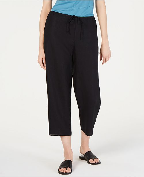 Eileen Fisher Drawstring Organic Cotton Linen Pull-On Pants