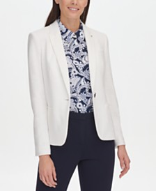 Tommy Hilfiger Textured One-Button Elbow-Patches Blazer