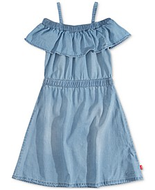 Little Girls Ruffle-Trim Denim Dress